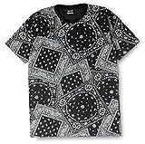 ペイズリー柄 Tシャツ メンズ レディース Sサイズ 02.ブラック ag2-0001-s-blk1