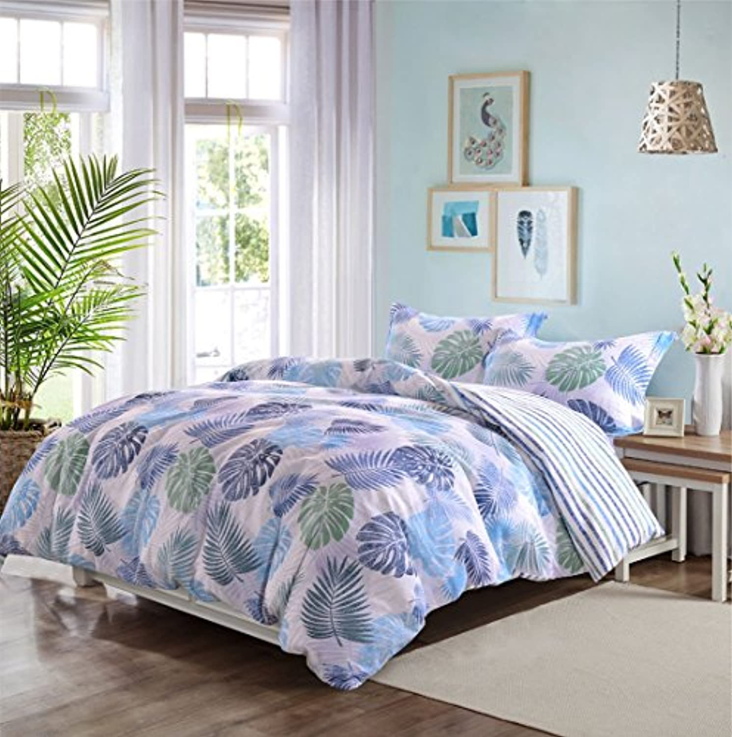 (King, Leaf) - Luxurious Quality Bamboo Microfiber Floral Duvet Cover King 3 Pieces Set - Hypoallergenic Breathable Comforter Case - Quilt Cover with Zipper Closure Corner Ties, Printed Leaves Hawaiian Style