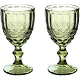 Wine Glass, Colored Glass Goblet, Set of 2, 10oz Vintage Pattern Embossed High Clear Glass Goblets for Party, Wedding,Green (