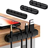 Cable Clips, 3 Pack Cord Organizer Cable Management, Self Adhesive Wire Management for Home, Office and Car (Black)