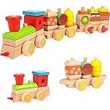 木玩社の木製汽車 知育玩具 形状認識 色認識 啓蒙教具 積み木 引っ張って 木製おもちゃ 木製ツールボックス プレゼント ギフト