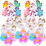 Unicorn Party Supplies - 36 Piece Unicorn Rubber Ducks & Vinyl Squirt Toys Variety Assortment Pack - Girls Birthday Party Fav