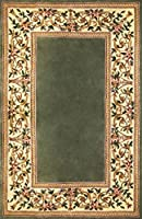 KAS Oriental Rugs Ruby Collection Floral Border Area Rug 30 x 50 Sage [並行輸入品]