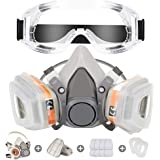 Respirator Mask Reusable Half Face Cover Gas Mask with Safety Glasses, Paint Face Cover Face Shield with Filters for Painting