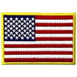 アメリカ 国旗 紋章 金縁 USA アメリカ合衆国 ミリタリー アップリケ刺繍入りアイロン貼り付け/縫い付けワッペン