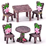 6 Pieces Miniature Table and Chairs Set, Fairy Garden Furniture Ornaments Kit for Dollhouse Accessories Home Micro Landscape