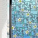 DUOFIRE 窓用フィルム 目隠しシート ガラスフィルム 窓めかくしシート遮光 遮熱 断熱シート 紫外線 UVカット ステンドグラス シール 水で貼る 貼り直し可能 おしゃれな花柄 インテリアシール (DP003A, 0.6M X 2M)
