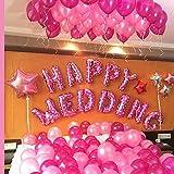 HAPPY WEDDING 超巨大 ウェディング バルーン セット 結婚式 二次会 飾り付け パーティーのデコレーション 風船 装飾セット (ピンク)