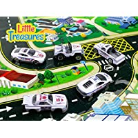 Die-cast police fleet alloy toy car models set of 5 vehicles a pick up truck, sports car, drag racing car, jeep and a sleek looking race car