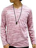 [オーバルダイス] Tシャツ ネックレス 付き セット 長袖 Vネック 無地 メンズ ワイン M
