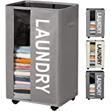 90L Extra Large Laundry Basket Hamper on Wheels Clear Window Tall Laundry Hamper Handles Collapsible Dirty Clothes Hamper Org