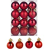HanYoer Christmas Ball Baubles Assorted Pendant Shatterproof Ball Ornament Set Seasonal Holiday Wedding Party Decorations(24