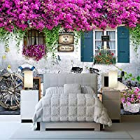 LJJLM 3Dステレオ窓バラの花壁画レストランカフェリビングルームロマンチックな背景壁画家の装飾-350X230CM