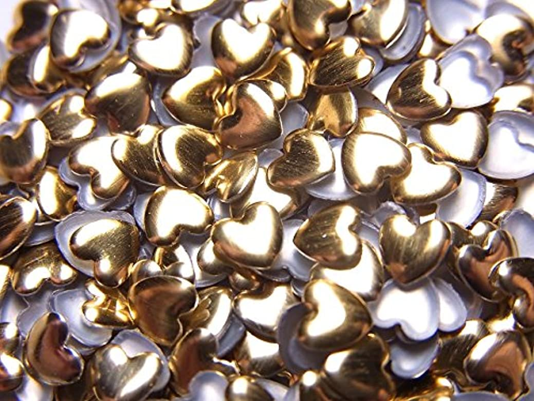 ヒューム有能な失礼な【jewel】ハート型 メタルスタッズ 4mm ゴールド 100粒入り