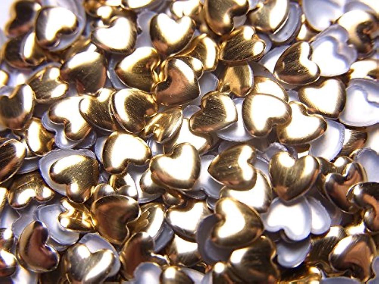 活力特異なメニュー【jewel】ハート型 メタルスタッズ 4mm ゴールド 100粒入り