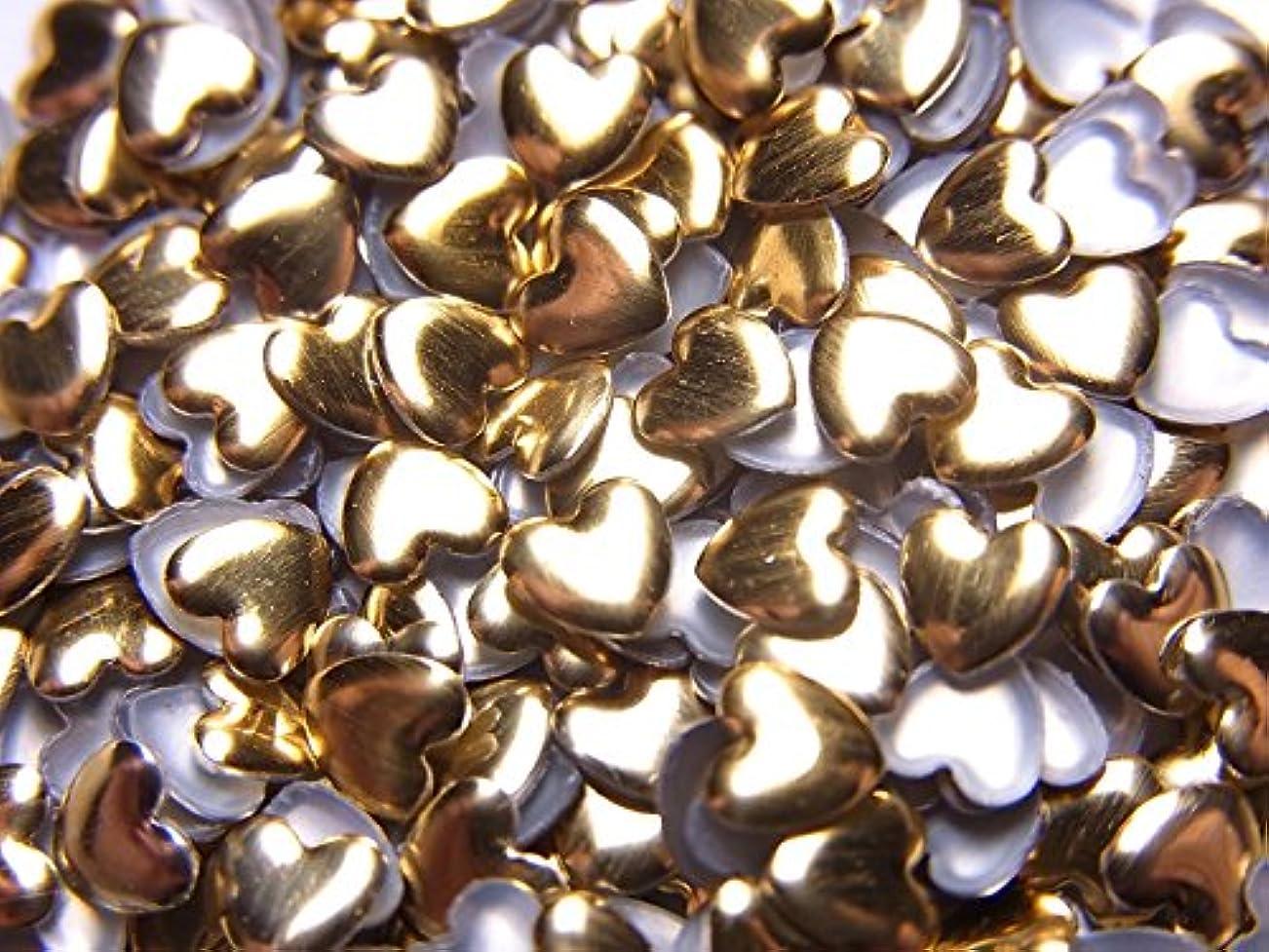 わな気味の悪い道路【jewel】ハート型 メタルスタッズ 4mm ゴールド 100粒入り