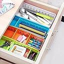 Generic M, Green : Creative Design Adjustable Drawer Organizer Home Kitchen Board Free Divider Makeup Tableware Storage Box