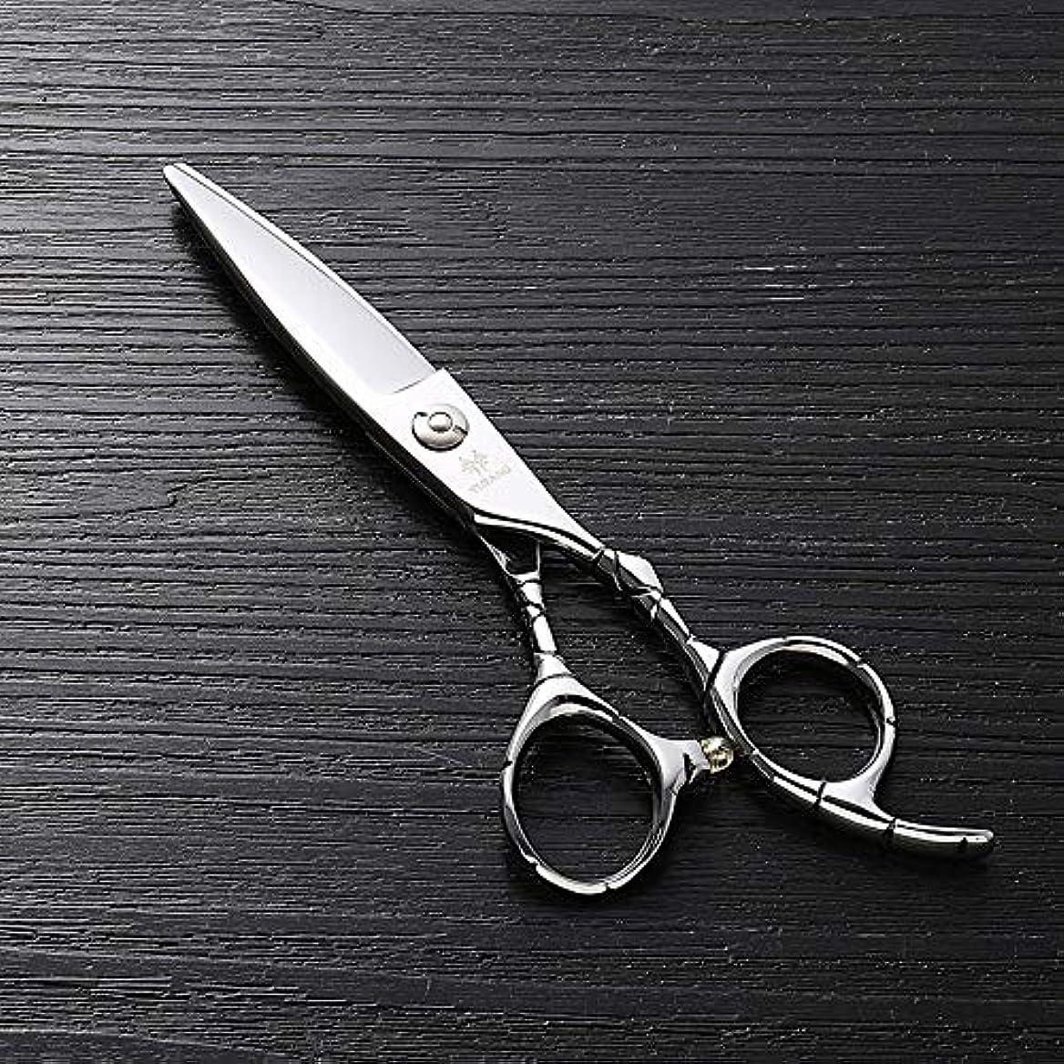 暴動小康貫通6インチのステンレス鋼のランセットの脂肪質の平らなせん断、美容院の専門の上限の理髪はさみ ヘアケア (色 : Silver)