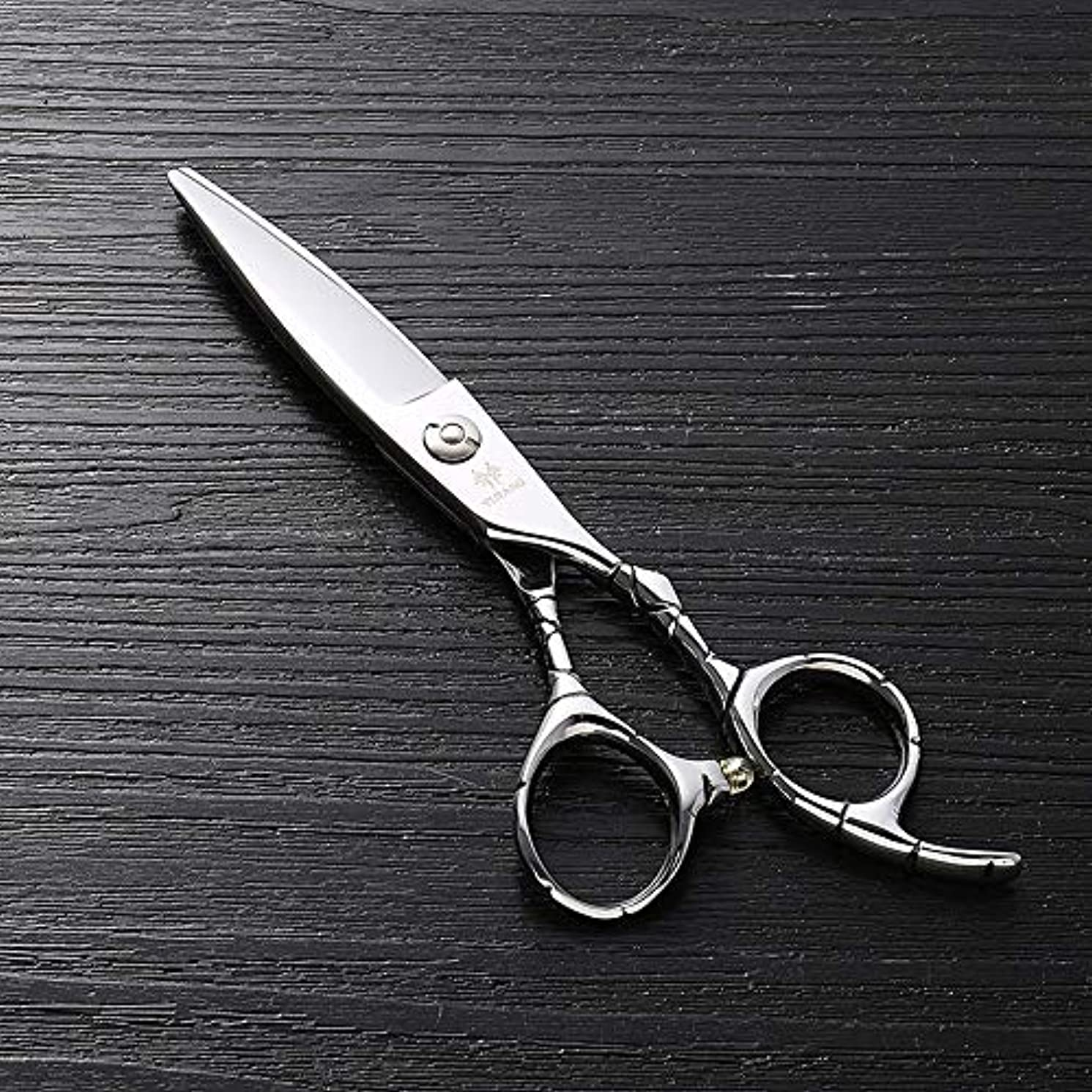 獲物スリチンモイ私たち6インチのステンレス鋼のランセットの脂肪質の平らなせん断、美容院の専門の上限の理髪はさみ ヘアケア (色 : Silver)
