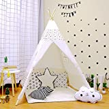 Actnow インディアンプレイテント 木と布 簡単組立 キッズテント 子供の秘密基地 おままごと テント