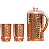 HealthGoodsAU - Pure Copper Hammered Water Jug with 2 Hammered Copper Tumbler | Copper Pitcher and Tumbler for Ayurveda Healt