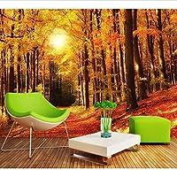 Wuyyii カスタム3 Dゴールデンウッズ日当たりの良いテレビの背景壁秋の森の葉リビングルームの壁紙入り口Mural450X300Cm