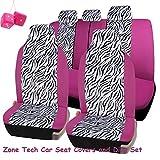 Amazon.co.jpユニバーサル フィット 高品質 防水性 通気性 100% ピンク & ゼブラ シートカバーセット + ピンクのハンギング ファジー ダイス 2点 合計7点セット