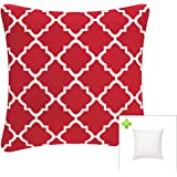 (Quatrefoil Lattice Red) - Indoor/Outdoor Throw Pillow with Insert 46cm x 46cm Decorative Square (Red, Quatrefoil Lattice) Cu