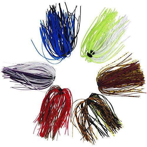 シリコン ラバースカート 自作ルアー ストレート 鯛 バス 雷魚 スモラバ タイラバ ラバージグ - シャドック釣り 10本セット ランダム色