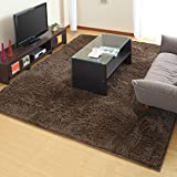 ラグマット カーペット 絨毯 じゅうたん シャギーラグ ラグマット 洗濯可能 〔200×250cm〕 ブラウン