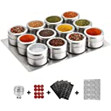 12 Magnetic Spice Tins,Stainless Steel Spice Jar Containers with Wall Mounted Spice Jars Organizer,New Magnetic Spice Jar,Inc