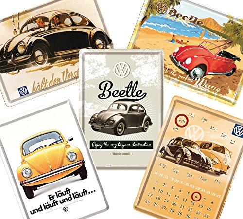 フォルクスワーゲン (A)/ポストカード はがき 4枚 & 卓上 カレンダー 1個 (ブリキ製) セット