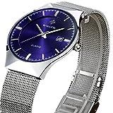 WWOOR 腕時計 ラウンドスリム 薄型 ビジネス クォーツ時計 防水 男性 青色