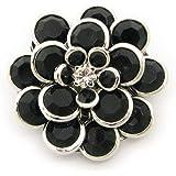 ブローチ 花 フラワー レディース ラペルピン メンズ 結婚式 KS52004 (ブラック)