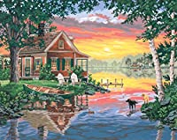 """Paint By Number Kit 20""""X16""""-Sunset Cabin (並行輸入品)"""