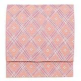 (キョウエツ) KYOETSU 日本製 名古屋帯 菱形 小花 洗える 仕立て上がり I (ピンク)