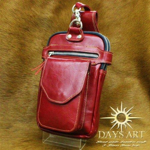 Days Art(デイズアート)牛革 イタリアンレザー 長財布入れ レザーバッグ レザーヒップバッグ ウエストバッグ レッド