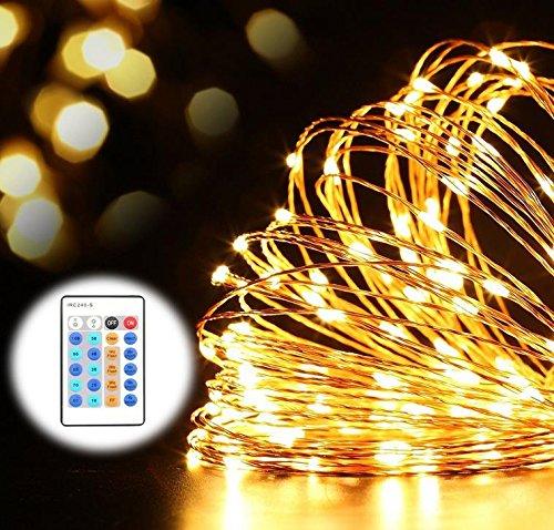 RUICAIKUN イルミネーション 防水ライト 50ft 100球LEDライト リモコン付き 屋外ガーデン クリスマスツリー飾り LED ジュエリーライト LED ワイヤーライト 飾り/電飾 (ウォームホワイト)