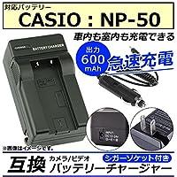AP カメラ/ビデオ 互換 バッテリーチャージャー シガーソケット付き カシオ NP-50 急速充電 AP-UJ0046-CS50-SG