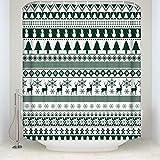 シャワーカーテン バスカーテン 浴室 防水 防カビ カーテンリング付属 幅180×丈210cm クリスマス グリーン TK-CRY-0816