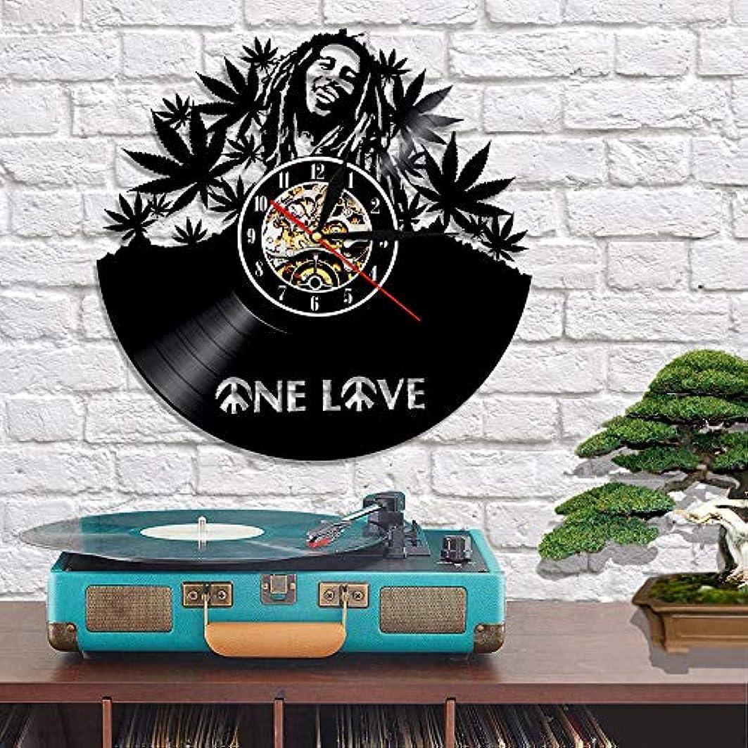 リネン文明摂動ビニール時計、壁の装飾、手作りのギフト 手作りのユニークでモダンな家の装飾、モダンアート、リビングルームの装飾 - Bob Marley