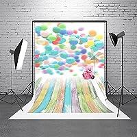 HMT 5x 7ft150cmx220cm )写真背景ピンクWall Backdrop Pretty Bear Colored Flower Background