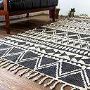 ネイティブ柄 洗える 手織り 西海岸 風 ハンドメイド ラグ マット 100x150 cm ブラック 1畳 インド製 たためる ホットカーペットカバー 床暖房 対応