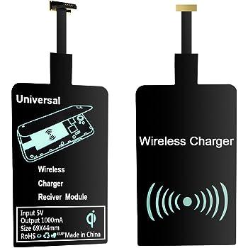 Ewin® Android Qiレシーバー(高価値 極薄) Androidスマホ ワイヤレス充電レシーバー Micro USB 端子対応 置くだけ充電シート シングルコイル 非接触充電(短辺側上方に、ワイド側下方)