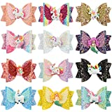 Unicorn Hair Bows Clips for Girls Sequins Glitter Hairpins Uniorn Party Gift School Hair Accessories (12pcs-Glitter bows with