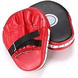 Hipiwe 2pcs MMA Focus Punch Mitts PU Leather Kicking Palm Pads Taekwondo Training Boxing Target Pad with Adjustable Strap