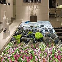 Weaeo 3Dイルカの小石の花の床の塗り厚い防水ベッドルームリビングルームロビーオフィスフローリング壁画-120X100Cm