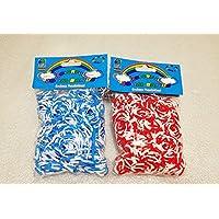 [Artasy ™][並行輸入品] DIY 4段 X 4段カラーゴムバンドブレスレット (ブルー x ホワイト + レッド x ホワイト) Loom Bands refill Pack - (600 + 600 pcs) rubber ring Color: Blue X White + Red X White