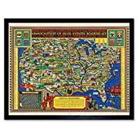 National Association Real Estate 1926 Map USA Art Print Framed Poster Wall Decor 12x16 inch 全国地図アメリカ合衆国ポスター壁デコ