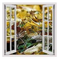 "Alonlineアート–Leaves In The Fall Fake 3dウィンドウフレーム入りのコットンキャンバスホーム装飾壁アート博物館品質フレームをハングアップする準備フレーム 32""x32"" - 81x81cm (Stretched Cotton Canvas) VF-1WD174-SCC0F01-1P1A-32-32"